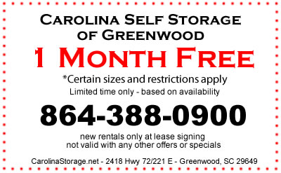 Carolina Self Storage of Greenwood Coupon